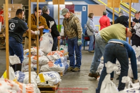 Iditarod volunteers, including John Hooley, unload, weigh, organize and stack the mushers food bags destined for the checkpoints on the 2017 Iditarod at the Airland Transport warehouse facilities in Anchorage Alaska.Wednesday February 15, 2017.Photo by Jeff Schultz/SchultzPhoto.com  (C) 2017  ALL RIGHTS RESVERVED