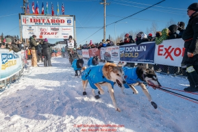 leaves the re-start line of the 2017 Iditarod in Fairbanks, Alaska at Pike's Landing on Monday March 6, 2017.Photo by Jeff Schultz/SchultzPhoto.com  (C) 2017  ALL RIGHTS RESVERVED