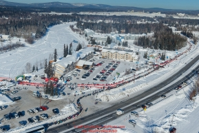 An aerial photo shows the start line along Airport Way and the Chena River during the re-start of the 2017 Iditarod in Fairbanks, Alaska at Pike's Landing on Monday March 6, 2017.Photo by Jeff Schultz/SchultzPhoto.com  (C) 2017  ALL RIGHTS RESVERVED