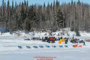 A team runs on the trail along the Tanana river between Fairbanks and Nenana during the 2017 Iditarod on Monday March 6, 2017.Photo by Jeff Schultz/SchultzPhoto.com  (C) 2017  ALL RIGHTS RESVERVED