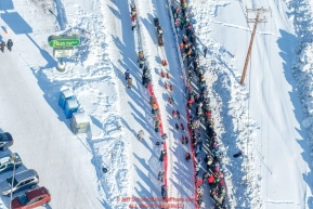 This aerial photo show a dog team after leaving the re-start in Fairbanks, Alaska on the way to the first checkpoint of Nenana on Monday March 6, 2017Photo by Jeff Schultz/SchultzPhoto.com  (C) 2017  ALL RIGHTS RESVERVED