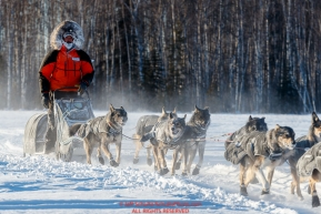 Peter Kaiser on the trail in sub-zero temps leaving the checkpoint in Manley Hot Springs during the 2017 Iditarod on Tuesday March 7, 2017.Photo by Jeff Schultz/SchultzPhoto.com  (C) 2017  ALL RIGHTS RESVERVED