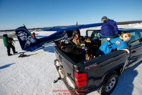 Volunteer vets Caroline Tonozzi and Amy Richardson take a group of dropped dogs to the airport at the Tanana checkpoint during the 2017 Iditarod on Wednesday March 8, 2017.Photo by Jeff Schultz/SchultzPhoto.com  (C) 2017  ALL RIGHTS RESERVED