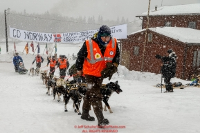 A team of Norwegian Volunteers walks Tore Albrigtsen and team to a parking spot at the Takotna checkpoint during Iditarod 2016.  Alaska.  March 09, 2016.  Photo by Jeff Schultz (C) 2016  ALL RIGHTS RESERVED