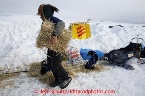 Sonny Lindner distributes straw to his resting dogs at the Unalakleet checkpoint on Sunday March 10, 2013.Iditarod Sled Dog Race 2013Photo by Jeff Schultz copyright 2013 DO NOT REPRODUCE WITHOUT PERMISSION