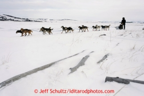 Norwegian musher Joar Leifseth Ulsom, a rookie, runs on the slough shortly after leaving the Unalakleet checkpoint on Sunday March 10, 2013.Iditarod Sled Dog Race 2013Photo by Jeff Schultz copyright 2013 DO NOT REPRODUCE WITHOUT PERMISSION