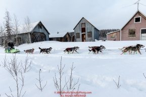 Ryan Redington runs past old miners cabins as he nears the Ophir Checkpoint on Thursday March 10 during Iditarod 2016.  Alaska.    Photo by Jeff Schultz (C) 2016  ALL RIGHTS RESERVED