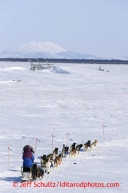 Karin Hendrickson runs on the slough just after leaving the Shaktoolik checkpoint on Monday March 11, 2013.Iditarod Sled Dog Race 2013Photo by Jeff Schultz copyright 2013 DO NOT REPRODUCE WITHOUT PERMISSION