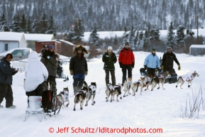 Aily Zirkle arrives at the Elim checkpoint on Monday March 11, 2013.Iditarod Sled Dog Race 2013Photo by Jeff Schultz copyright 2013 DO NOT REPRODUCE WITHOUT PERMISSION