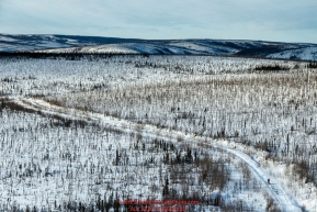A team runs down a mining road on the way from Cripple towards the Ruby checkpoint on Friday March 11 during Iditarod 2016.  Alaska.    Photo by Jeff Schultz (C) 2016  ALL RIGHTS RESERVED