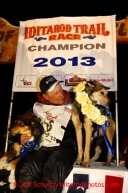 Mitch Seavey with his lead dogs Tanner, left, and Taurus after arriving in Nome first and winning his second Iditarod sled dog race on Tuesday March 12, 2013. Seavey made the journey from Willow in 9 days, 7 hours, 39 minutes, 56 seconds. Iditarod Sled Dog Race 2013Photo by Jeff Schultz copyright 2013 DO NOT REPRODUCE WITHOUT PERMISSION