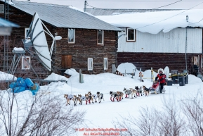 Aliy Zirkle runs down the road as she leaves the Kaltag checkpoint during the 2017 Iditarod on Sunday morning March 12, 2017.Photo by Jeff Schultz/SchultzPhoto.com  (C) 2017  ALL RIGHTS RESERVED