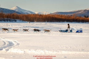 Cody Strathe runs on the Yukon River nearing the Kaltagcheckpoint during the 2017 Iditarod on Sunday evening  March 12, 2017.Photo by Jeff Schultz/SchultzPhoto.com  (C) 2017  ALL RIGHTS RESERVED