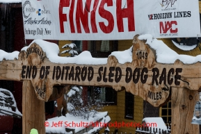 The famed Burl Arch finish line in Nome on Friday March 14 during the 2014 Iditarod Sled Dog Race.PHOTO (c) BY JEFF SCHULTZ/IditarodPhotos.com -- REPRODUCTION PROHIBITED WITHOUT PERMISSION