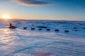 Robert Sorlie runs down the beach at dawn leaving the Koyuk checkpoint on Monday March 14th during the 2016 Iditarod.  Alaska    Photo by Jeff Schultz (C) 2016  ALL RIGHTS RESERVED