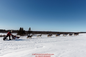 Aliy Zirkle makes her way into the White Mountain checkpoint on Monday March 14th during the 2016 Iditarod.  Alaska    Photo by Jeff Schultz (C) 2016  ALL RIGHTS RESERVED
