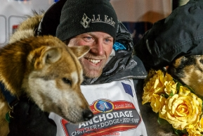 Dallas Seavey is all smiles after winning the 44th running of the Iditarod Sled Dog Race in Nome on Tuesday March 15th  in record time of 8 Days 11 hours 20 minutes 16 seconds  Iditarod 2016Photo by Jeff Schultz (C) 2016  ALL RIGHTS RESERVED