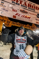 Dallas Seavey is excited after winning the 44th running of the Iditarod Sled Dog Race in Nome on Tuesday March 15th during the 2016 Iditarod in record time of 8 Days 11 hours 20 minutes 16 seconds    Photo by Jeff Schultz (C) 2016  ALL RIGHTS RESERVED