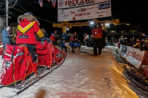 Mitch Seavey arrives in second place at the finish line in Nome on Tuesday March 15th during the 2016 Iditarod.  Alaska    Photo by Jeff Schultz (C) 2016  ALL RIGHTS RESERVED