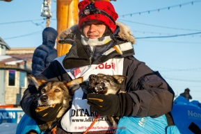Robert Redington poses with his lead dogs at the finish line in Nome during the 2017 Iditarod on Wednesday March 15, 2017.Photo by Jeff Schultz/SchultzPhoto.com  (C) 2017  ALL RIGHTS RESERVED