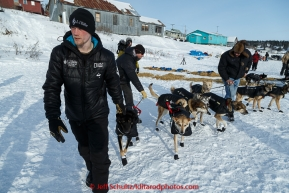 Dallas Seavey leads his dogs out of the White Mountain checkpoint on Tuesday March 16, 2015 during Iditarod 2015.  (C) Jeff Schultz/SchultzPhoto.com - ALL RIGHTS RESERVED DUPLICATION  PROHIBITED  WITHOUT  PERMISSION