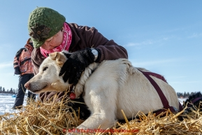 Volunteer vet Dawn Sessions examines Aaron Burmeister's dog