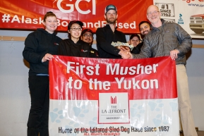 The Lakefront Anchorage First Musher to the Yukon Award isPresented  by Greg Beltz, general manager of The Lakefront Anchorage to Nicolas Petit at the Nome Musher's Award Banquet during the 2017 Iditarod on Sunday March 19, 2017.Photo by Jeff Schultz/SchultzPhoto.com  (C) 2017  ALL RIGHTS RESERVED