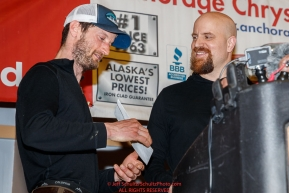 The Nome Kennel Club Fastest Time from Safety to Nome is presented by Rolland Trowbridge, Nome Kennel Club to Nicolas Petit at the Nome Musher's Award Banquet during the 2017 Iditarod on Sunday March 19, 2017.Photo by Jeff Schultz/SchultzPhoto.com  (C) 2017  ALL RIGHTS RESERVED