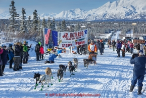 Dakota Schlosser leaves the start line during the 2015 Junior Iditarod start  on the Denali Highway on on Sunday March 1, 2015.  (C) Jeff Schultz/SchultzPhoto.com - ALL RIGHTS RESERVED DUPLICATION  PROHIBITED  WITHOUT  PERMISSION