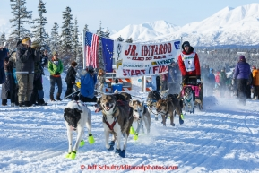 Andrew Nolan leaves the start line of the 2015 Junior Iditarod on the Denali Highway on Sunday March 1, 2015.(C) Jeff Schultz/SchultzPhoto.com - ALL RIGHTS RESERVED DUPLICATION  PROHIBITED  WITHOUT  PERMISSION