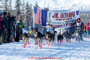 Katie Deits leaves the start line of the 2015 Junior Iditarod on the Denali Highway on Sunday March 1, 2015.(C) Jeff Schultz/SchultzPhoto.com - ALL RIGHTS RESERVED DUPLICATION  PROHIBITED  WITHOUT  PERMISSION