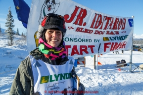 2015  honorary musher  Jayne Hempstead, DVM at the start of the Junior Iditarod  on Sunday March 1, 2015. (C) Jeff Schultz/SchultzPhoto.com - ALL RIGHTS RESERVED DUPLICATION  PROHIBITED  WITHOUT  PERMISSION