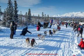 Kevin Harper leaves the 2015 Junior Iditarod start on the Denali Highway on on Sunday March 1, 2015.(C) Jeff Schultz/SchultzPhoto.com - ALL RIGHTS RESERVED DUPLICATION  PROHIBITED  WITHOUT  PERMISSION