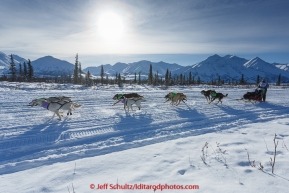 Nicole Forto and team run down the trail on the Denali Highway with the Alaska Range in the background during the start day of the 2015 Junior Iditarod on Sunday March 1, 2015(C) Jeff Schultz/SchultzPhoto.com - ALL RIGHTS RESERVED DUPLICATION  PROHIBITED  WITHOUT  PERMISSION
