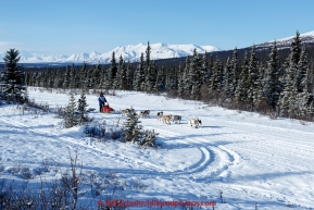 Marianna Mallory and team run down the trail on the Denali Highway with the Alaska Range in the background during the start day of the 2015 Junior Iditarod on Sunday March 1, 2015(C) Jeff Schultz/SchultzPhoto.com - ALL RIGHTS RESERVED DUPLICATION  PROHIBITED  WITHOUT  PERMISSION