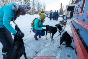 Teachers from the Iditarod Winter Conference for Educators take photos and look at the dogs and mushers at the pre-race vet-check for dogs running this year's 2017 Iditarod at Iditarod Headquarters in Wasilla, Alaska.  Wednesday March 1, 2017Photo by Jeff Schultz/SchultzPhoto.com  (C) 2017  ALL RIGHTS RESVERVED