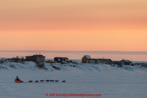 Alan Eischens on the trail a few miles from Nome at sunset on Saturday March 21, 2015 during Iditarod 2015.  (C) Jeff Schultz/SchultzPhoto.com - ALL RIGHTS RESERVED DUPLICATION  PROHIBITED  WITHOUT  PERMISSION