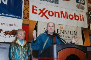 Alaska Governor Bill Walker and the first lady speak at the finishers banquet in Nome on Sunday  March 22, 2015 during Iditarod 2015.  (C) Jeff Schultz/SchultzPhoto.com - ALL RIGHTS RESERVED DUPLICATION  PROHIBITED  WITHOUT  PERMISSION