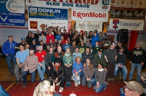 Alaska Governor Bill Walker and the first lady pose with most all of the 2015 Iditarod finishers at the finishers banquet in Nome on Sunday  March 22, 2015 during Iditarod 2015.  (C) Jeff Schultz/SchultzPhoto.com - ALL RIGHTS RESERVED DUPLICATION  PROHIBITED  WITHOUT  PERMISSION