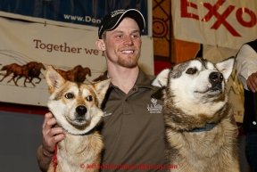 2015 Iditarod champion Dallas Seavey and his lead dogs  at the finishers banquet in Nome on Sunday  March 22, 2015 during Iditarod 2015.  (C) Jeff Schultz/SchultzPhoto.com - ALL RIGHTS RESERVED DUPLICATION  PROHIBITED  WITHOUT  PERMISSION