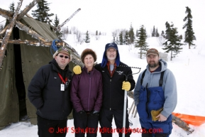 Volunteers, from left, Chris Blankenship, Linda and Dan Peterson and Warren Palfrey at Rainy Pass checkpoint March 4, 2013.