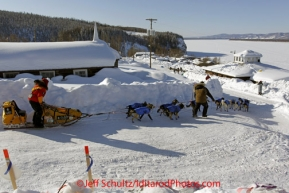 Friday March 9, 2012 Mitch Seavey leaves the Yukon River village of Ruby, Alaska, after taking an 8-hour layover. Iditarod 2012.