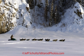 Friday March 9, 2012  Jeff King on the Yukon River shortly after leaving the village of Ruby, Alaska. Iditarod 2012.