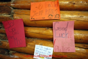 Friday March 9, 2012   Encourging signs for the mushers line the community center walls at the Ruby checkpoint. Iditarod 2012.