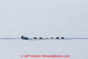 A dog team runs on the Yukon River between Eagle Island and Kaltag on Saturday March 9, 2013.Iditarod Sled Dog Race 2013Photo by Jeff Schultz copyright 2013 DO NOT REPRODUCE WITHOUT PERMISSION