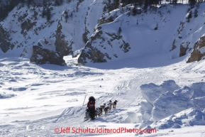 Sunday March 11, 2012  Aliy Zirkle runs on the sea ice after leaving Elim. Iditarod 2012.