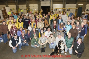 Friday, February 15, 2013.   Some 60+ Iditarod volunteers pose for a group photo during the