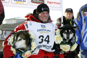 Tuesday March 13, 2012  Dallas Seavey poses with his lead dogs at the finish line in Nome shorlty after Dallas won the 2012 Iditarod.