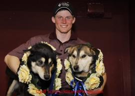 Sunday March 18, 2012   2012 Iditarod Champion Dallas Seavey with his lead dogs