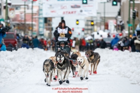 Ray Redington Jr. runs down 4th avenue during the ceremonial start of the 2018 Iditarod in Anchorage, Alaska on Saturday, March 3,  2018.Photo by Jeff Schultz/SchultzPhoto.com  (C) 2018  ALL RIGHTS RESERVED